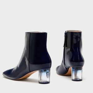 zara • patent boots with clear heels • eu 40